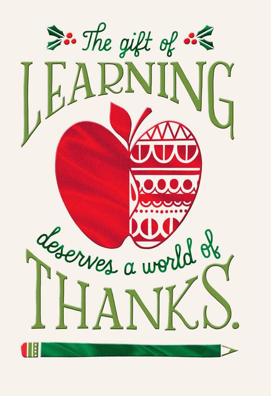 A World Of Thanks Christmas Card For Teacher Greeting Cards Hallmark