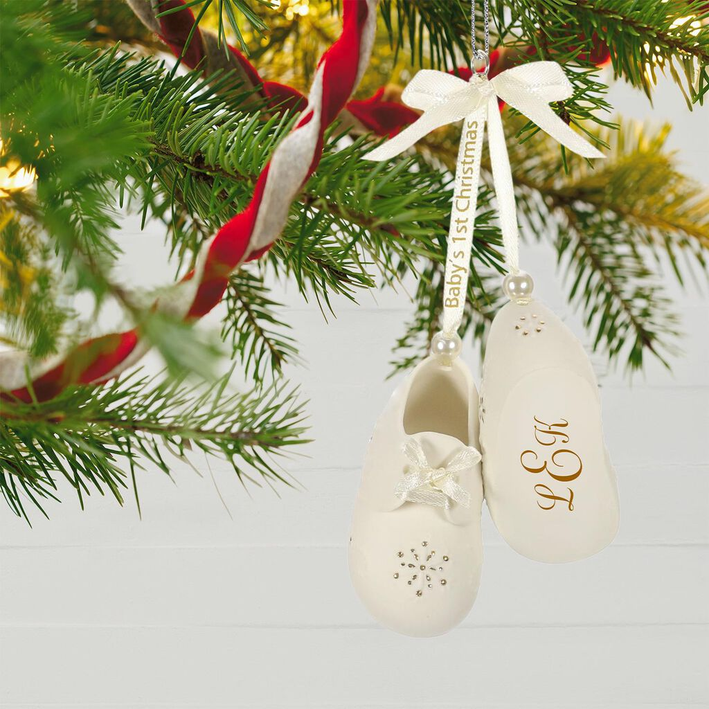 c29d13ea8 Baby's First Christmas Monogram Booties Porcelain Personalized Ornament  Baby's First Christmas Monogram Booties Porcelain Personalized Ornament ...