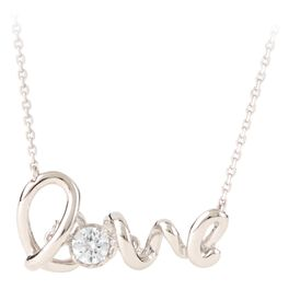 Love With Cubic Zirconia Necklace in Sterling Silver, , large