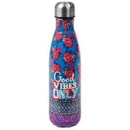 Natural Life Good Vibes Double Wall Water Bottle, , large