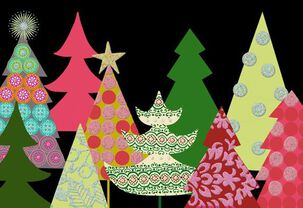 Colorful Trees Christmas Cards, Pack of 6