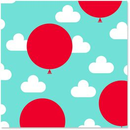 Red Balloons and Clouds Wrapping Paper Roll, 27 sq. ft., , large
