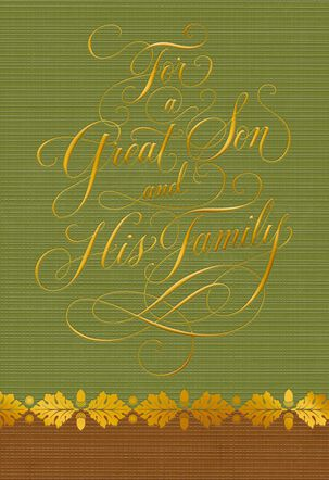 For a Wonderful Son and Family Thanksgiving Card