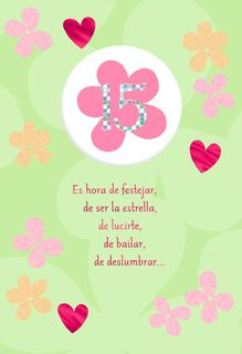Happy Flowers Spanish-Language 15th Birthday Card,