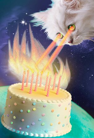 Laser Vision Cosmic Cat Funny Birthday Card