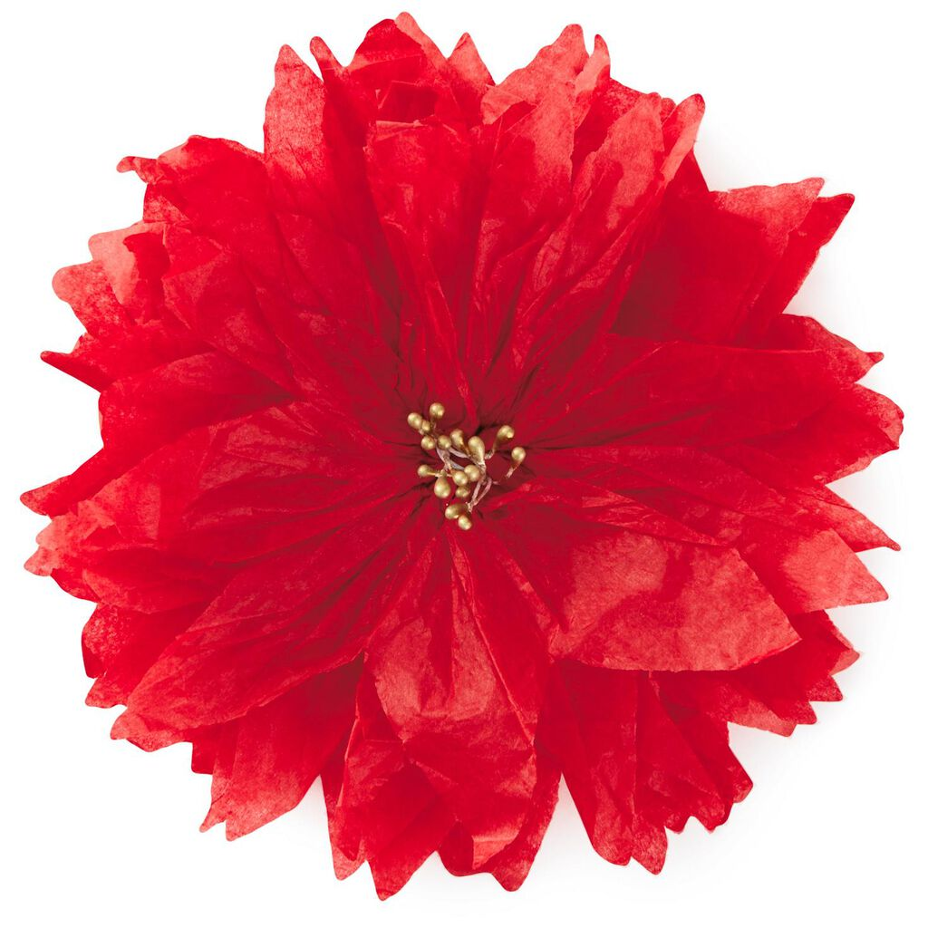 Red Poinsettia Tissue Paper Flower Bow 5 Bows Ribbons Hallmark