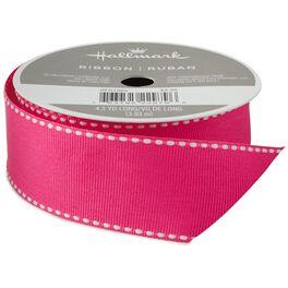 "Hot Pink Saddle Stitch 1 1/4"" Grosgrain Ribbon, 4.3 yards, , large"