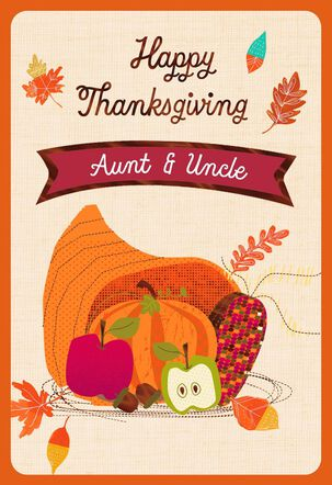 Cornucopia Thanksgiving Card with Customizable Family Recipient Stickers
