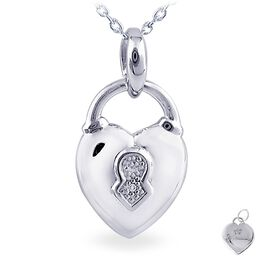 Diamond Accent Heart Lock Necklace  in Sterling Silver, , large