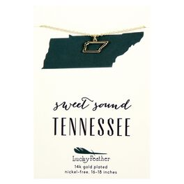 State of Tennessee Necklace in 14k Yellow Gold-Plate, , large