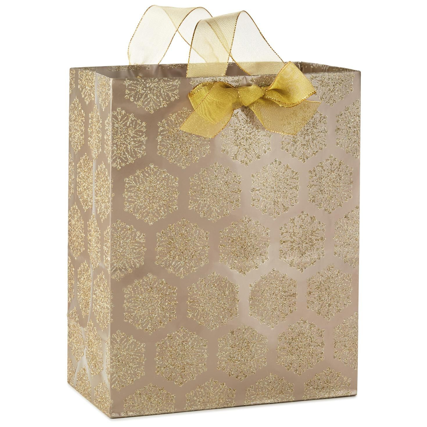 Christmas Gift Bags Part - 16: Gold Glitter Snowflakes Large Christmas Gift Bag, ...