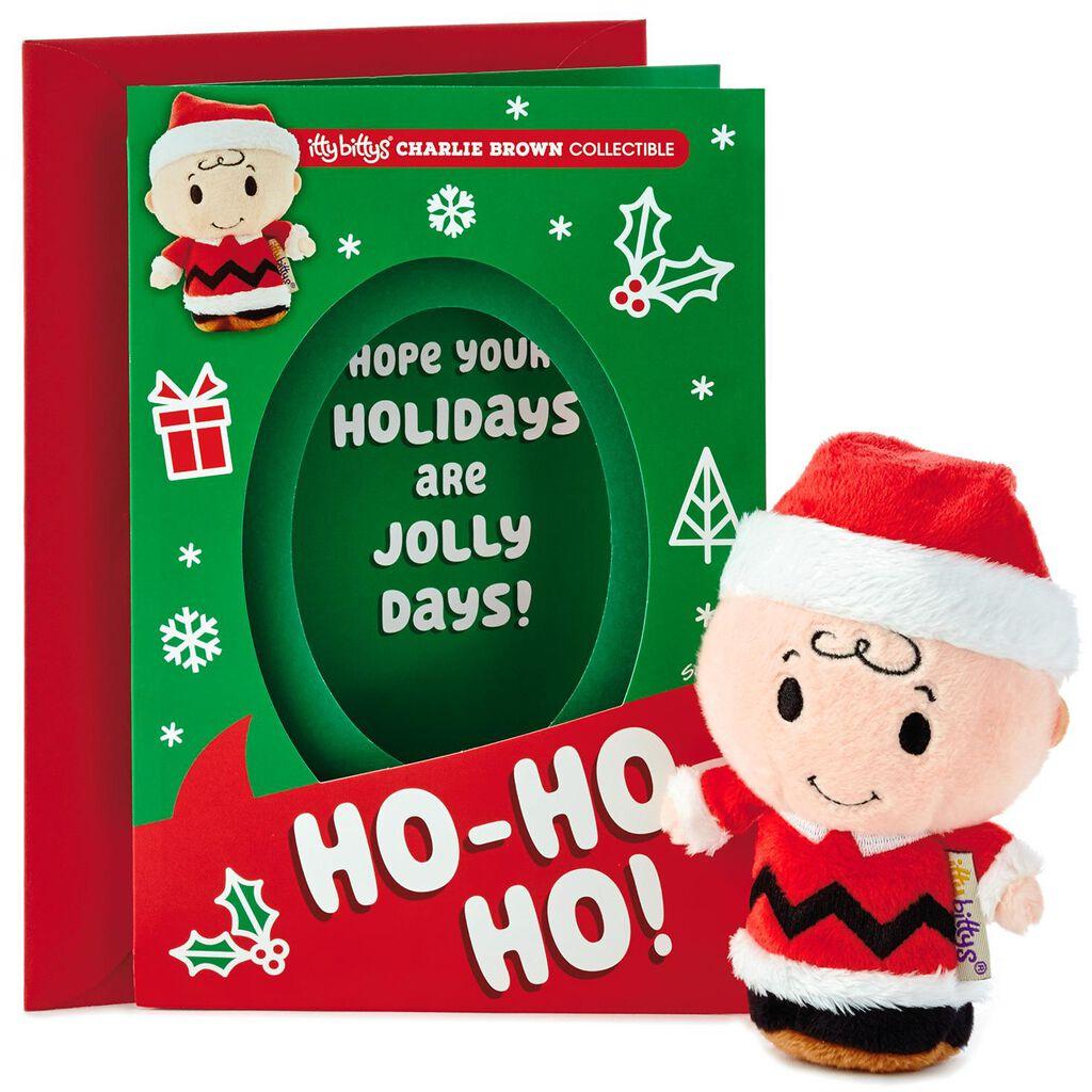 cca1a76b2c479 itty bittys® Peanuts® Charlie Brown Christmas Card With Stuffed Animal -  Greeting Cards - Hallmark