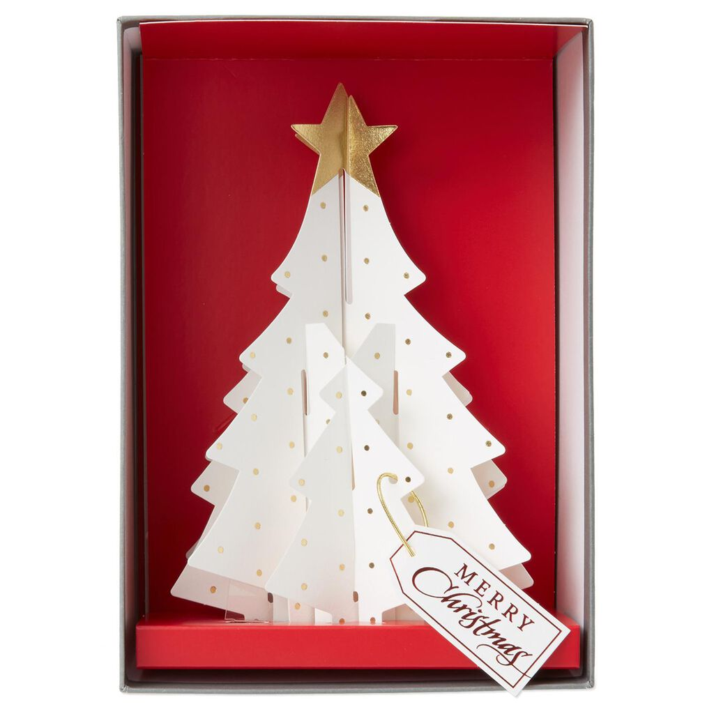 3 D White Christmas Tree Cards Box Of 5