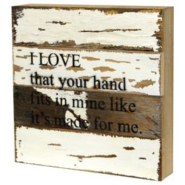Your Hand Fits in Mine Rustic Wood Sign, 8x8, , large