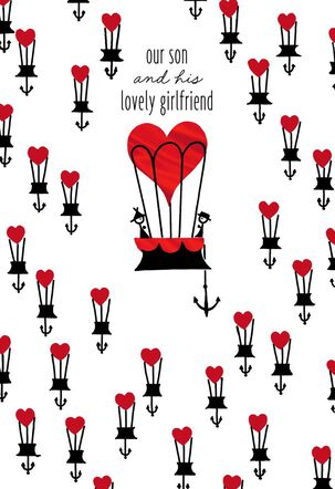 For Our Son and His Girlfriend Hot Air Balloons Valentine's Day Card