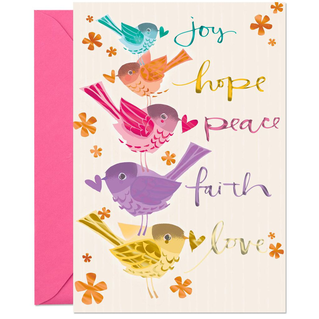 Joy Hope Peace Religious Birthday Card
