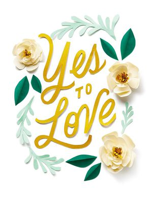 Paper Flowers Yes to Love Wedding Card