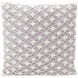 Gray Macrame Outdoor Pillow, Large, , large