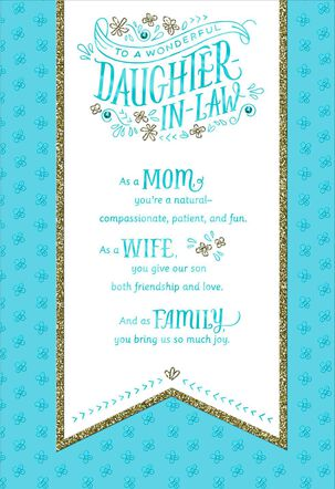 Banner on Blue Mother's Day Card for Daughter-in-Law