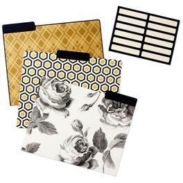 Classic Black and Gold Geometric File Folders, Set of 6, , large