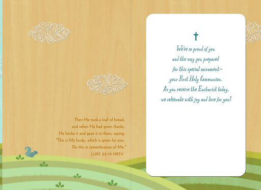 Celebrate With Joy and Love Religious First Communion Card for Son,