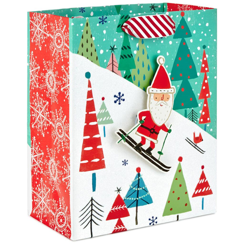 skiing santa medium christmas gift bag