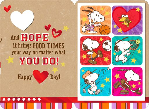 peanuts snoopy and woodstock valentines day card with stickers