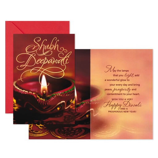 Shubh Deepawali Diwali Cards, Pack of 6,