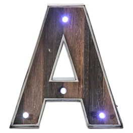 Rustic Metal & Wood Monogram Lighted Letter, , large