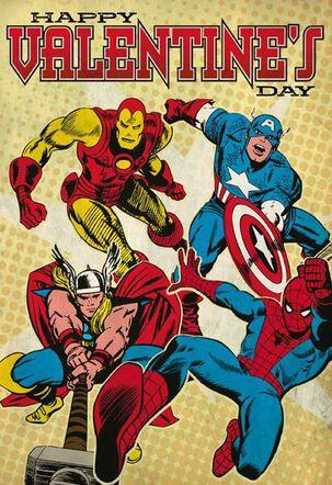 MARVEL Comics Super Heroes Valentine's Day Card
