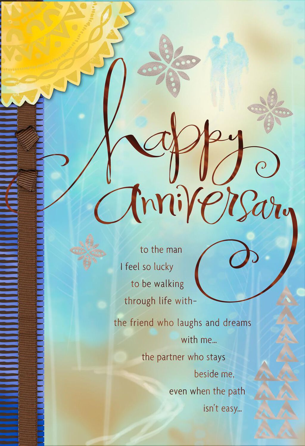 Walking Through Life With You Anniversary Card For Him Greeting