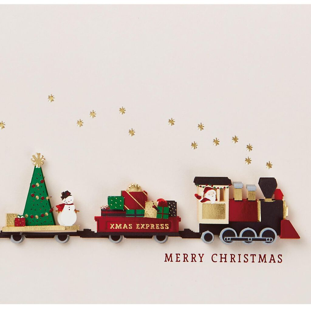 Paper Craft Train Christmas Card - Greeting Cards - Hallmark