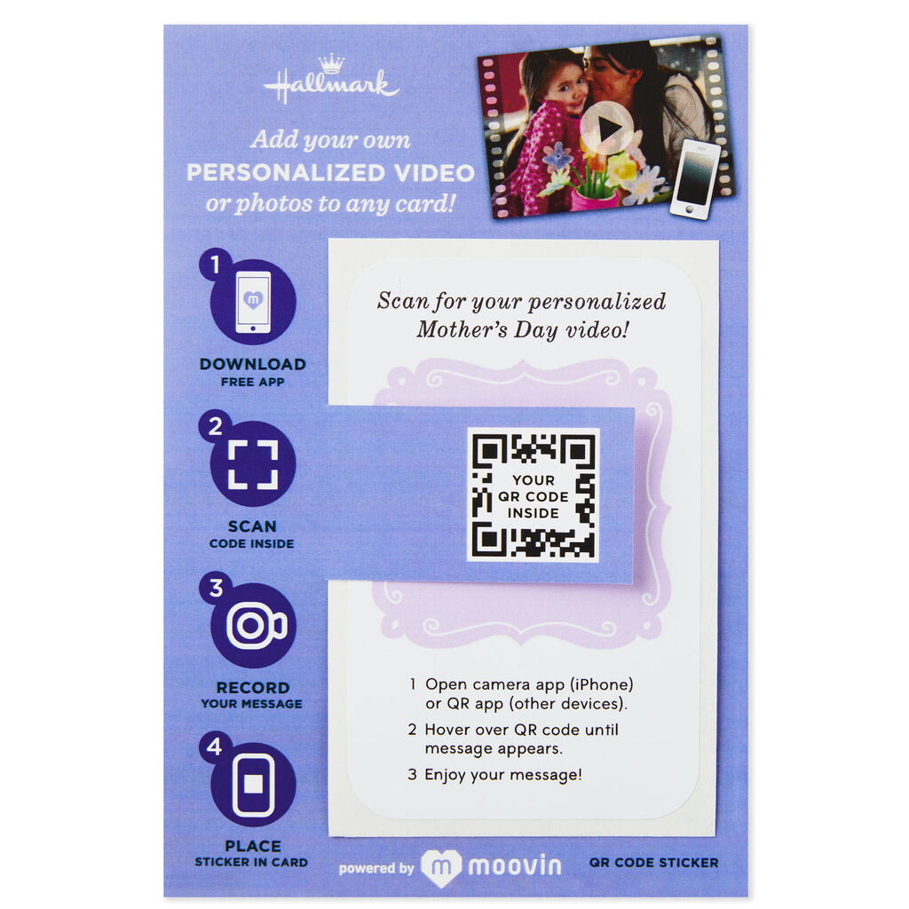 Purple Design Personalized Photo/Video QR Code Mother's Day Sticker