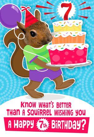 Squirrelly Nuts 7th Birthday Card