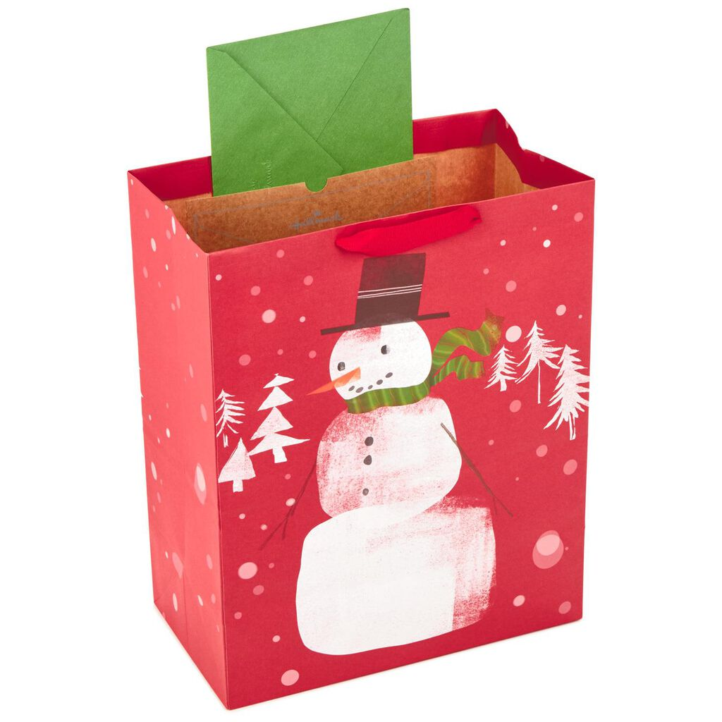 snowman on red large christmas gift bag 13