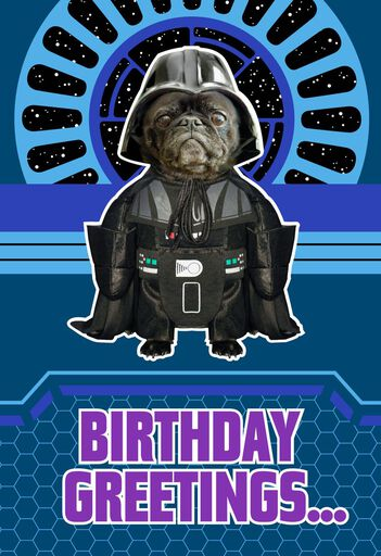 star wars darth vader dog bark side musical birthday card