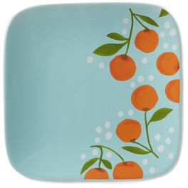 Oranges On Teal Small Plate, , large