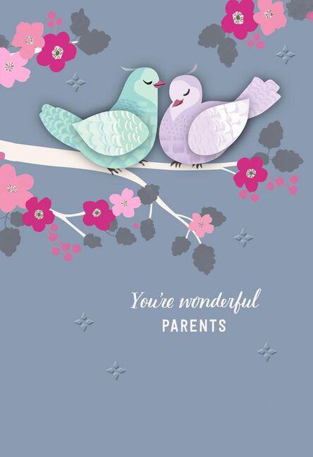 Lovebirds anniversary card for parents greeting cards hallmark lovebirds anniversary card for parents m4hsunfo