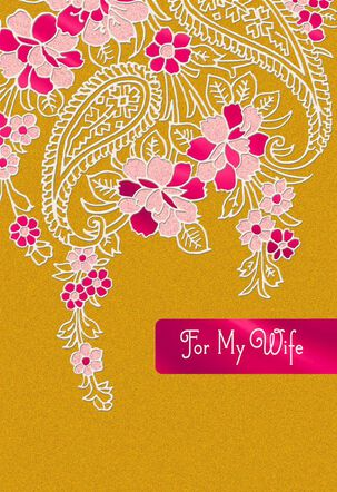 Pink and Gold Paisley Wife Card