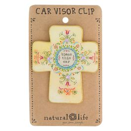 Natural Life Glitter and Gold Visor Clip Bless This Car, , large