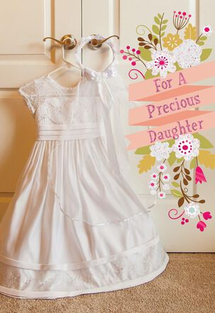 White Dress First Communion Card for Precious Daughter