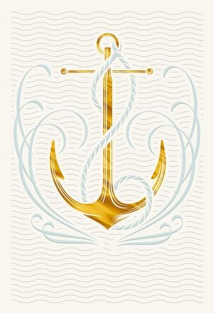 Golden Anchor Blank Father's Day Card