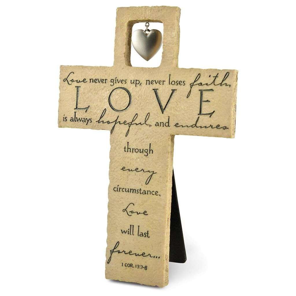 Love Stone Cross - 1 Corinthians 13:7-8 - Plaques & Signs - Hallmark