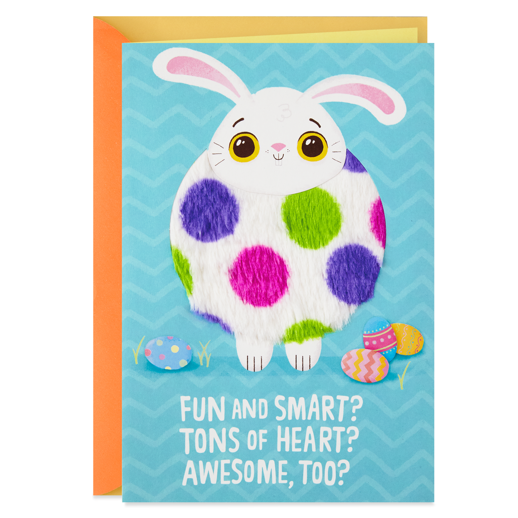 Fuzzy Bunny Tons Of Heart Easter Card For Kids Greeting Cards