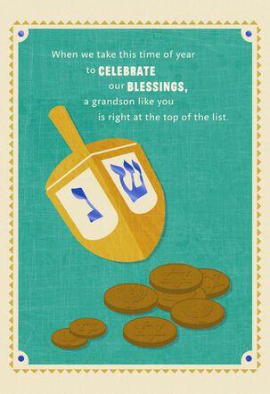 Dreidel Hanukkah Card for Grandson
