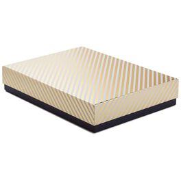 "Gold Stripe Large Gift Box, 13.5"", , large"