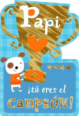 Puppy Love Spanish-Language Birthday Card for Dad