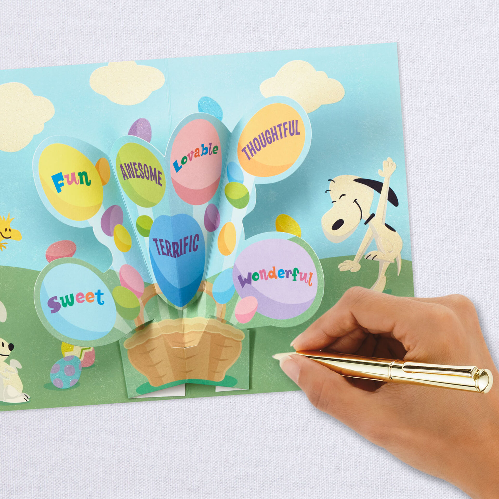 Hallmark Peanuts Pop Up Easter Card for Kids Snoopy Easter Eggs