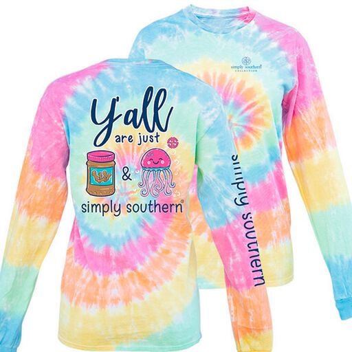 8182af33 Simply Southern Women's PBJ Tie-dye Long Sleeve T-Shirt,