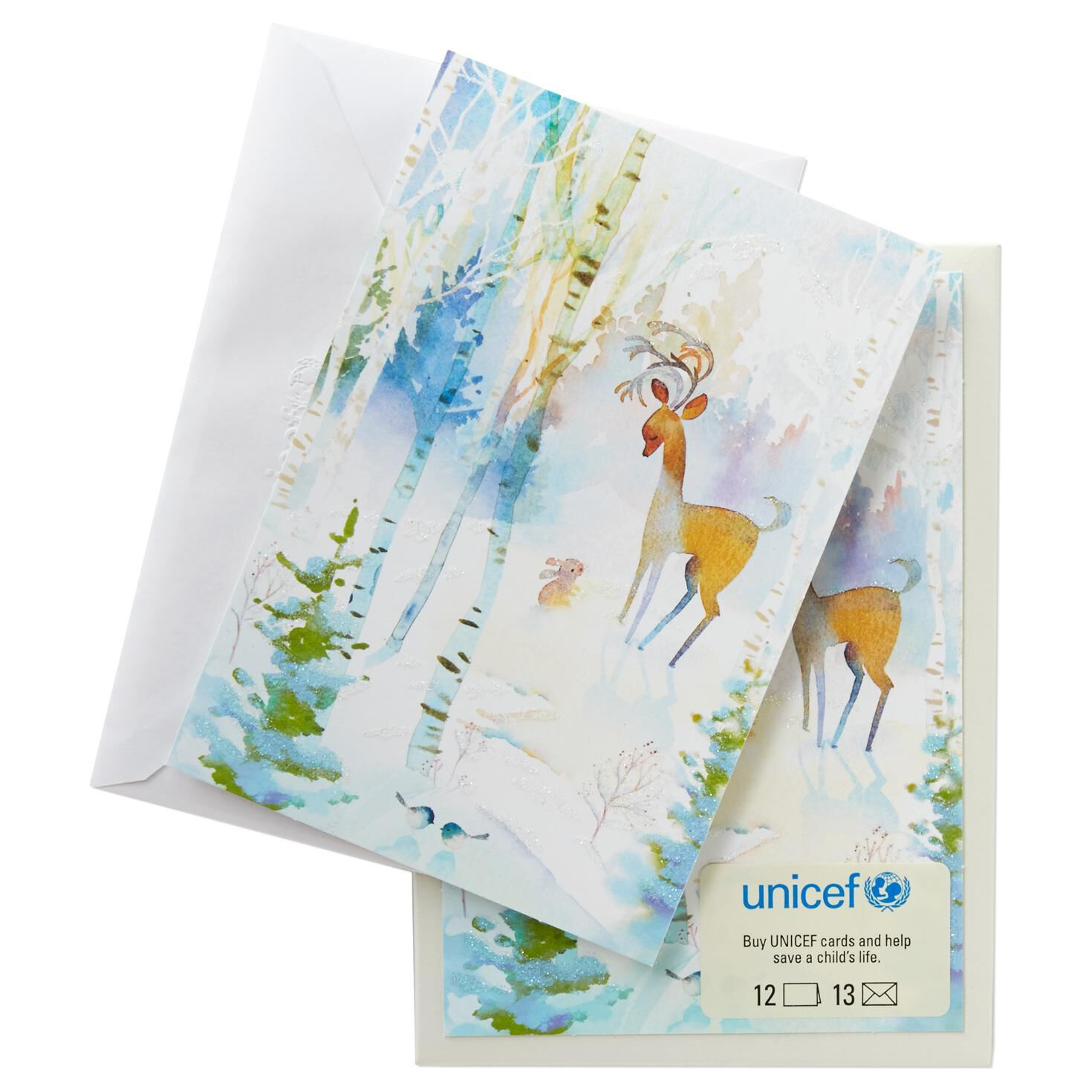 UNICEF Winter Watercolor Deer Christmas Cards, Box of 12 - Boxed ...